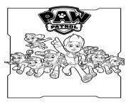 Pat Patrouille au grand complet menee par Ryder dessin à colorier