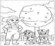 pat patrouille avec la fermiere dessin à colorier