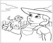 pat patrouille fermiere et vache dessin à colorier