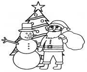 sapin de noel avec pere noel bonhomme de neige dessin à colorier