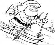 pere noel en pente de ski dessin à colorier