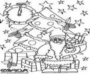 sapin de noel illumine avec Saint-Nicolas  dessin à colorier