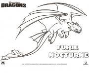 dragons le film furie nocturne dessin à colorier