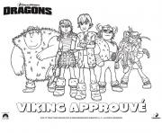 Coloriage dragons le film viking groupe