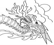 Coloriage dragon crache feu dessin