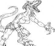 dragon fille femme muscle dessin à colorier