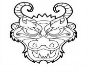 Coloriage dragon masque tete