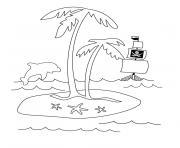 palmier dauphin et bateau dessin à colorier