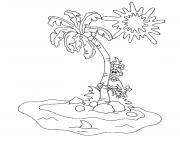 palmier ile palmier plage dessin à colorier