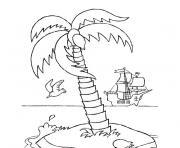 palmier avec cocotier et bateau dessin à colorier