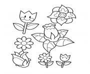 jardin fleurs dessin à colorier