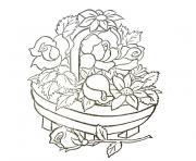 panier de fleurs dessin à colorier