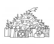 sapin noel et cadeaux dessin à colorier