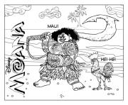 Coloriage maui du film disney vaiana dessin
