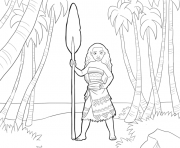 Coloriage vaiana moana disney in the forest