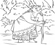 Coloriage vaiana moana disney in the forest dessin