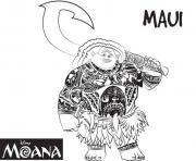 Coloriage maui strong man de vaiana moana disney