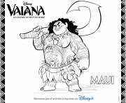Coloriage maui du film disney moana