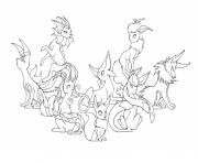 Coloriage pokemon eevee evolutions mega
