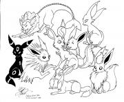 Pokemon Eevee Evolutions dessin à colorier