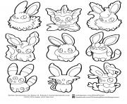 Coloriage pokemon eevee evolutions list