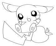 pikachu mignon 2 dessin à colorier