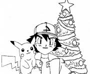 Coloriage pikachu pokemon noel