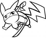 pikachu en mode ninja dessin à colorier