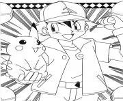pikachu sasha pret pour le combat dessin à colorier