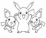 Coloriage pikachu with his pichu friends pokemon