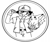 Coloriage ash and pikachu 1