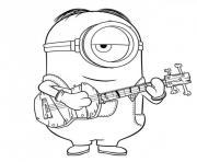 minion adore la musique dessin à colorier