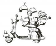 minion de moi moche et mechant sur une moto dessin à colorier