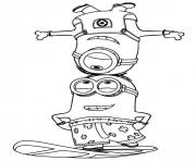 Coloriage minion de moi moche et mechant surf