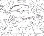 minion peace paix dessin à colorier