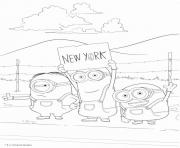 minion en direction de newyork dessin à colorier
