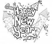 Coloriage Happy New Year Printable 2