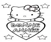 bonne annee hello kitty dessin à colorier