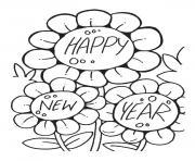 fleurs nouvel an bonne annee 2017 dessin à colorier