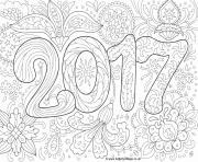 doodle adulte nouvel an 2017 dessin à colorier