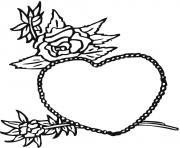 coeur avec roses amoureux dessin à colorier