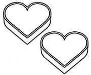 deux coeurs saint valentin dessin à colorier