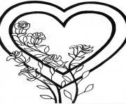 coeur avec des roses dessin à colorier