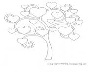 arbre de coeur dessin à colorier