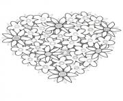 fleurs en forme de coeur dessin à colorier