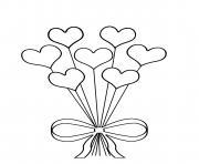 bouquet de fleur en coeur dessin à colorier