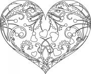 coeur rose mandala dessin à colorier