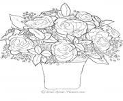 bouquet de rose st valentin dessin à colorier