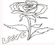 rose et coeur 113 dessin à colorier