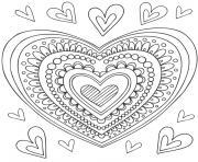 mandala coeur dessin à colorier